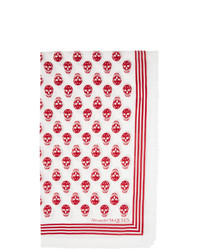Alexander McQueen White And Red Biker Skull Scarf