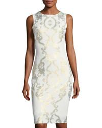 Cap sleeve scroll print midi sheath dress medium 4416362