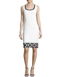 Collection sara sleeveless lace trim sheath dress whiteblack medium 3665520