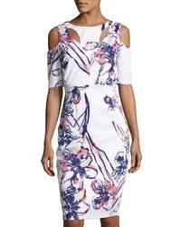 Floral print cold shoulder sheath dress white pattern medium 3665519