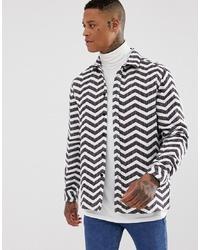 ASOS DESIGN Brushed Chevron Jacquard Stripe Overshirt
