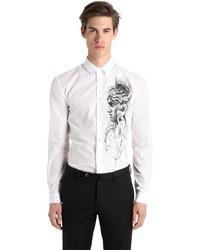 Versace Medusa Sketch Print Cotton Poplin Shirt