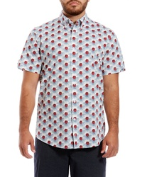 Ben Sherman Floral Check Slim Fit Short Sleeve Shirt