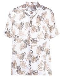 Eleventy Foliage Print Linen Shirt