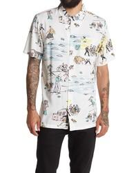 Vans Kide Camp Print Short Sleeve Button Up Camp Shirt