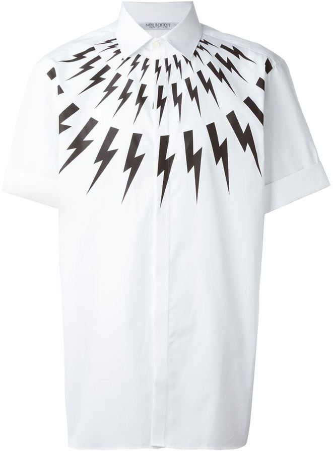 c03cef96 ... White Print Short Sleeve Shirts Neil Barrett Lightning Bolt Print Shirt