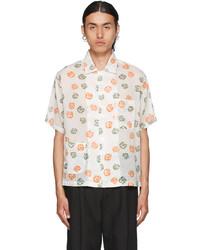 Bode Off White Sheer Foliage Short Sleeve Shirt