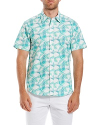 Ben Sherman Palm Leaf Print Slim Fit Short Sleeve Sport Shirt