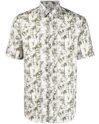 Canali Palm Tree Print Short Sleeved Shirt