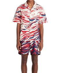 Moncler Print Short Sleeve Snap Up Shirt