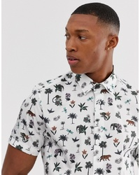 Ted Baker Shirt With Nature Print In White