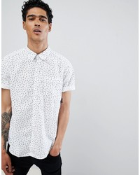 Esprit Slim Fit Short Sleeve Shirt In Digital Pineapple Print