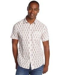 Just A Cheap Shirt White And Burgundy Cotton Printed Button Front Shirt