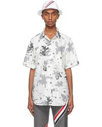 Thom Browne White Grey Graphic Print Straight Fit Short Sleeve Shirt