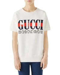 Gucci Logo Short Sleeve Cotton Sweatshirt