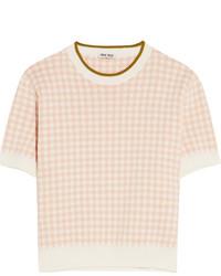 Miu Miu Intarsia Cotton Sweater Blush