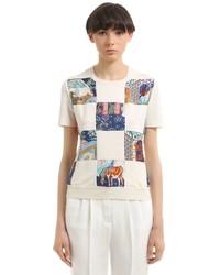 Salvatore Ferragamo Wool Knit Printed Silk Twill Sweater