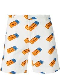 White Print Shorts