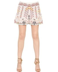 Etro Printed Silk Crepe Lace Shorts