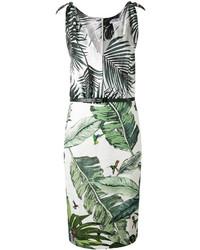 Max Mara Contrast Palm Print Dress