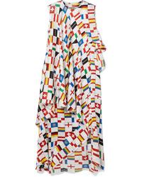 Balenciaga Layered Ruffled Printed Silk Satin Jacquard Dress
