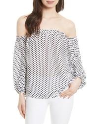 Milly Jillian Dot Print Silk Off The Shoulder Top