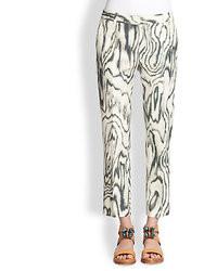 3.1 Phillip Lim Cotton Silk Cropped Woodgrain Print Pants