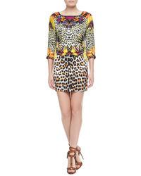 Just Cavalli Mixed Leopard Print Silk Dress