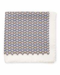 Eton Bulldog Print Silk Pocket Square