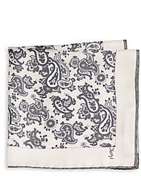 Saint Laurent Paisley Print Silk Pocket Square