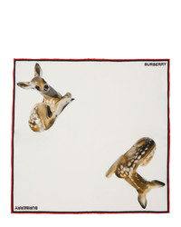 Burberry White Silk Deer Pocket Square