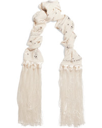 Fringed printed silk crepe de chine scarf white medium 4393614
