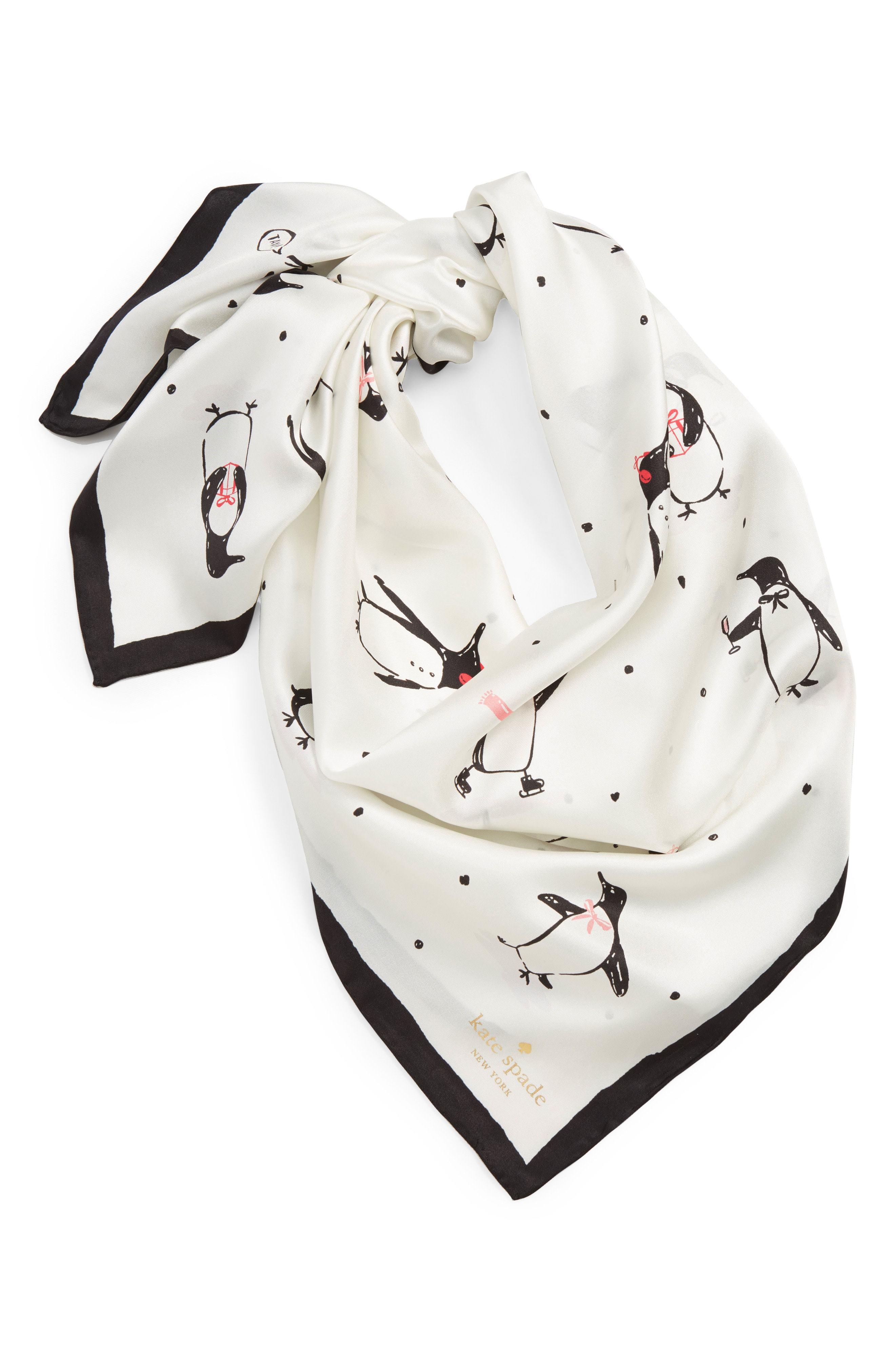 66967b9c9 ... Nordstrom › kate spade new york › White Print Silk Scarves kate spade  new york Penguin Silk Square Scarf