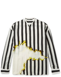 Haider Ackermann Grandad Collar Double Cuff Printed Silk Shirt