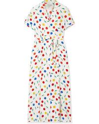 HVN Long Maria Printed Silk De Chine Dress
