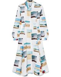 Calvin Klein 205W39nyc Pleated Printed Silk Poplin Midi Dress