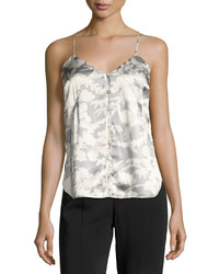 Elizabeth and James Carlo P Button Down Silk Camisole Tank White