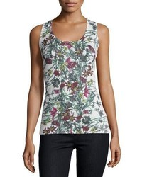 Neiman Marcus Cashmere Collection Superfine Floral Print Cashmere Tank