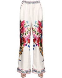 Dolce & Gabbana Bouquet Printed Silk Twill Pants