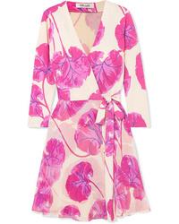 Diane von Furstenberg Irina Printed Silk Jersey Wrap Mini Dress