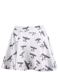 ChicNova Elastic Waist Mini Skater Skirt With Eagle Boy Print