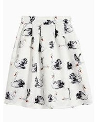 Choies Swan Print High Waist Pleated Skirt In White