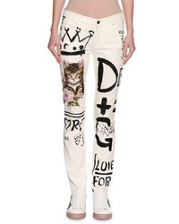 Graffiti cat printed skinny jeans white medium 4983824