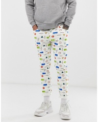 ASOS DESIGN Skinny Jeans In White With All Over Print