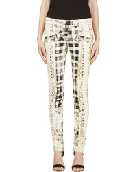 White Print Skinny Pants