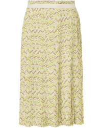 Tomas Maier Pleated Printed Stretch Cady Midi Skirt Chartreuse
