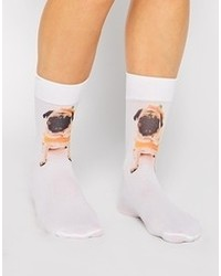 Asos Halloween Socks With Pug Print White