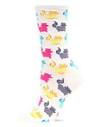 Hot Sox Fluffy Cats Crew Socks