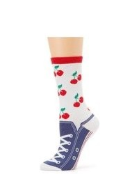K. Bell Socks 61711 Cherry Sneaker White One Size