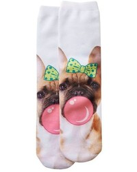 So Bubble Gum Dog Crew Socks
